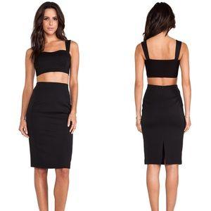 Black Halo Kayley 2pc Crop Top Black Dress